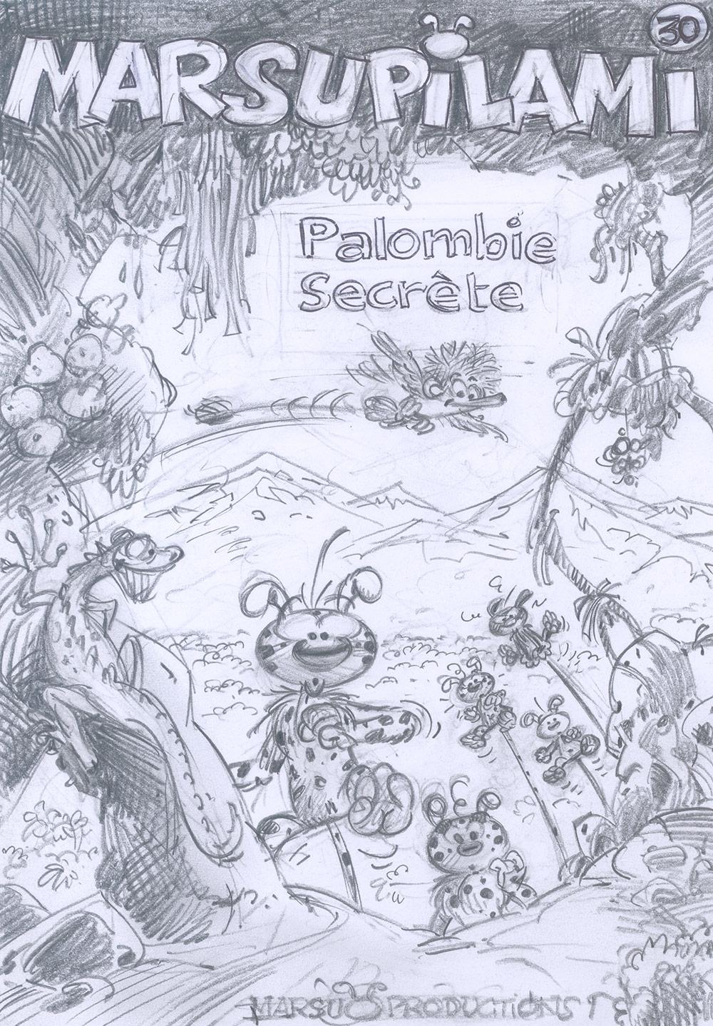 Marsupilami, tome 30 : Crayonné de la couverture